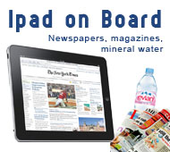 iPad, Newspapers, magazines, mineral water